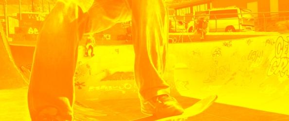 fotografía de Fernando Toledo. Hugo Clemente en el skatepark de La Punta